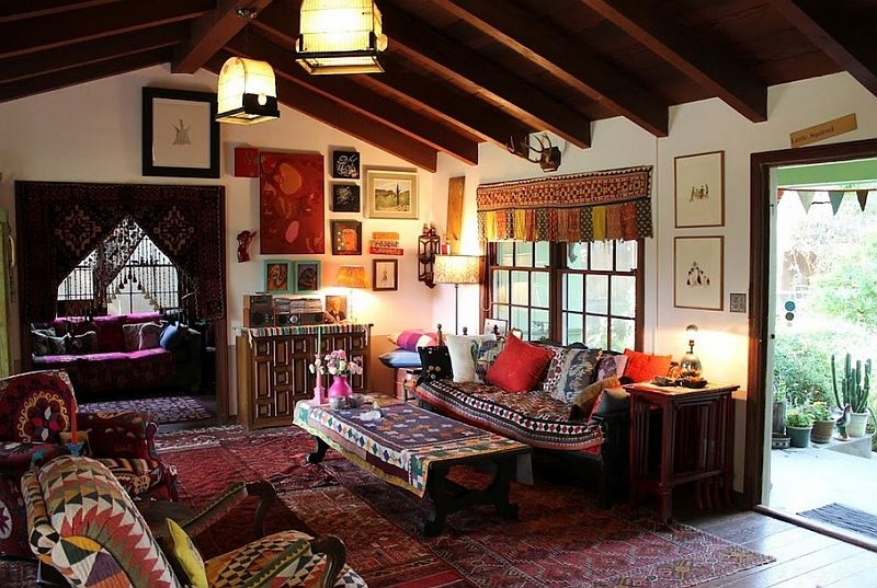 Bohemian Living Room Clad In A Wide Variety Of Hues And Prepossessing Bohemian Living Room Design Review