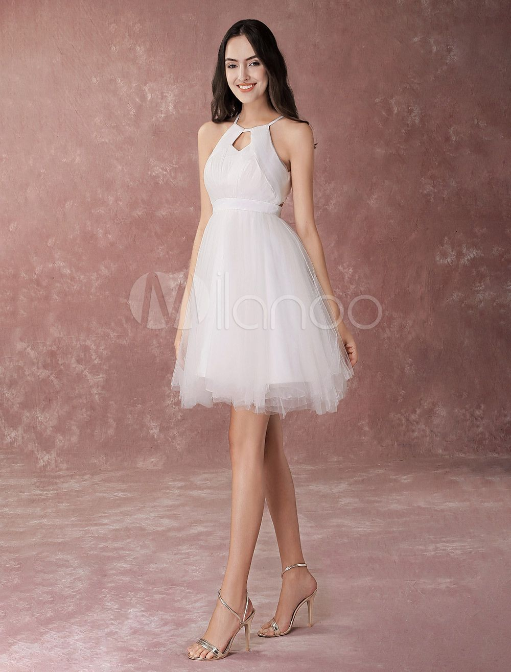 Short Wedding Dress Halter Little White Dress Tulle A Line Cute Homecoming Dress White Bridal Dresses Short White Dress Wedding White Lace Wedding Dress [ 1316 x 1000 Pixel ]