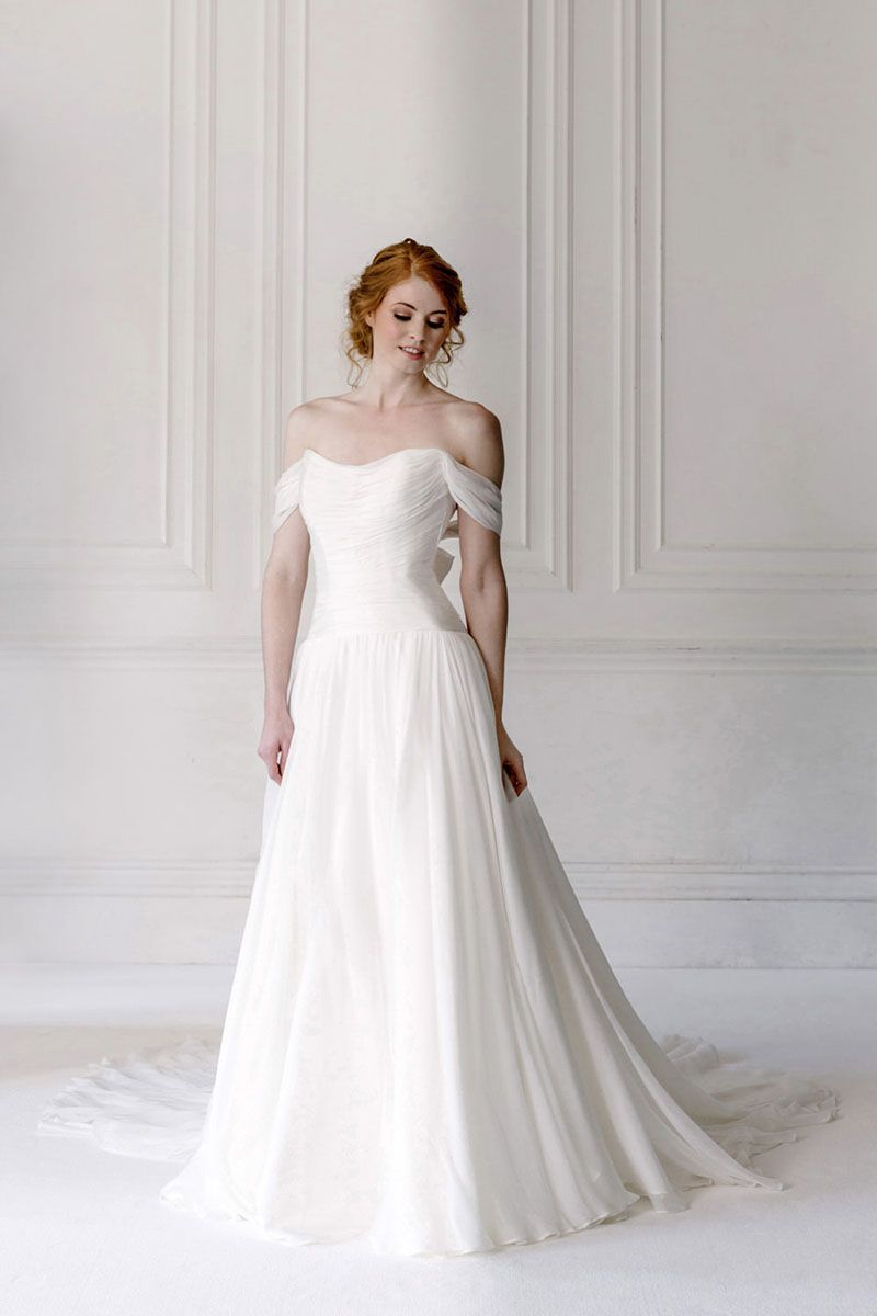 bf9ad2fc611 off the shoulder romantic ruched chiffon a line wedding dress .