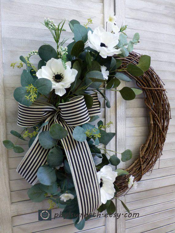 Photo of Everyday Wreath Spring Eucalyptus Wreath Spring Wreaths For Front Door Spring Modern Wreath Farmhouse All Season Wreath Year Round Wreath