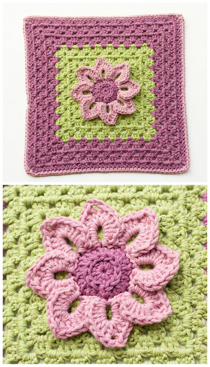 Free Pattern] Simple Yet Stunning Design: Water Lily Afghan Square ...