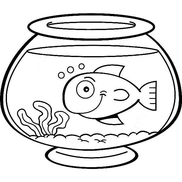 Smiling Fish In Fish Bowl Coloring Page Download Print Online Coloring Pages For Free Color Nimbus Warna Gambar Kartun