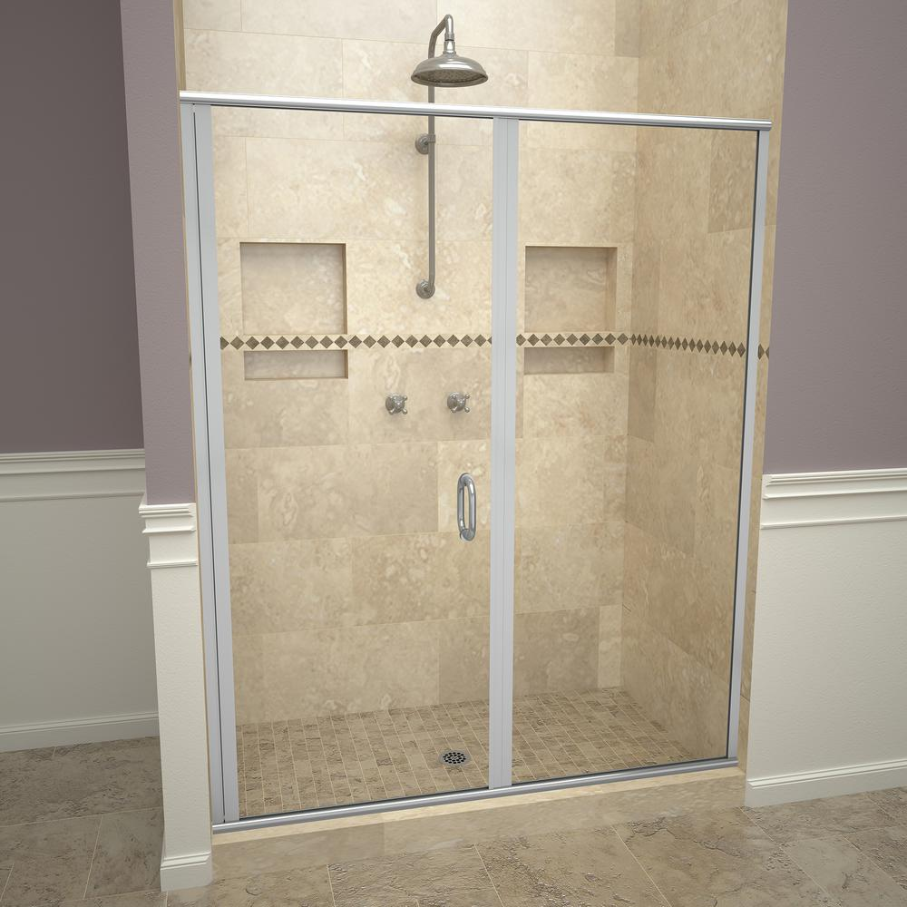 Redi Swing 1200 Series 47 In W X 72 1 8 In H Semi Frameless Swing Shower Door In Brushed Nickel With Pull Handles And Clear Glass 12rcblp04772 Shower Doors Framed Shower Door Tile Redi