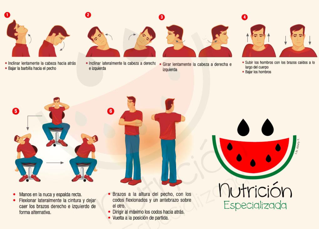 Nutrición Especializada te comparte unos ejercicios de estiramiento que  fácilmente podemos realizar en la oficina. Nos mantendrán mucho mas  relajados y ... 63c47d0f1a8a