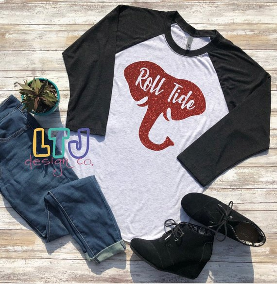 Roll Tide Raglan Tee ~ Alabama Shirt ~ Alabama Crimson Tide ~ Alabama Football Shirt ~ Elephant ~ Houndstooth Shirt ~ Gameday Shirt #rolltidealabama