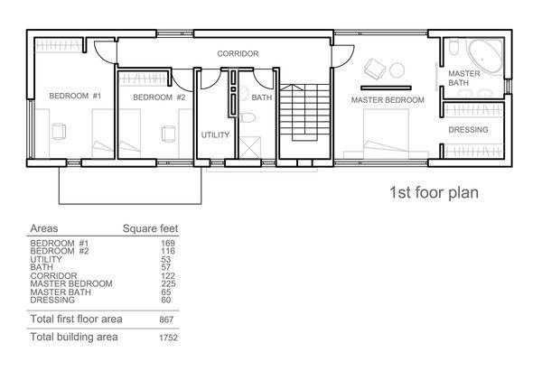 Modern Style House Plan - 3 Beds 250 Baths 1752 Sq/Ft Plan #552-3