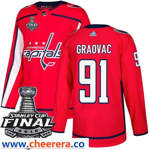 Washington Capitals  91 Tyler Graovac Red Stitched Adidas NHL Home Men s  Jersey with 2018 Stanley Cup Final Patch f6daae599