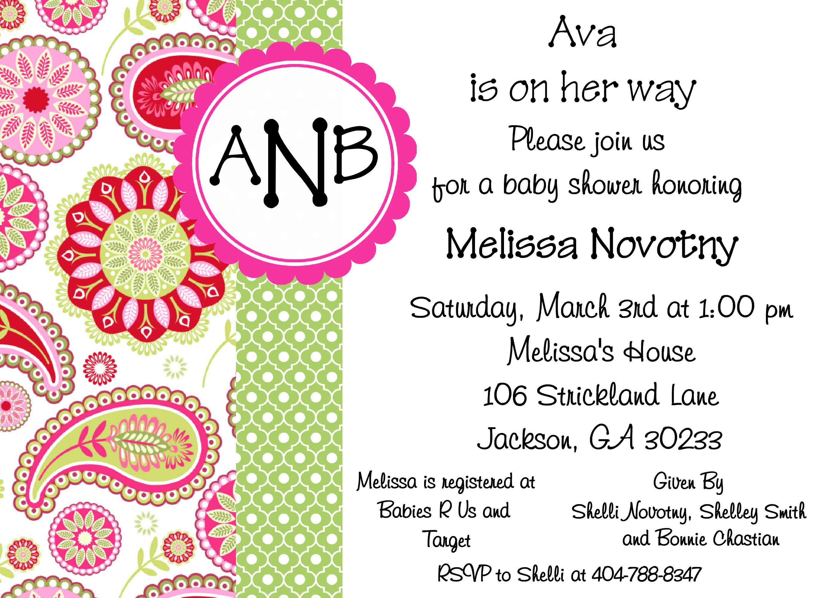 Baby girl invite to order email: becmcdaniel1@yahoo.com ...