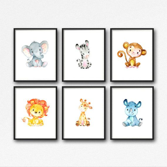 Animals Nursery Art Printable Jungle Animals Nursery Decor Lion ...