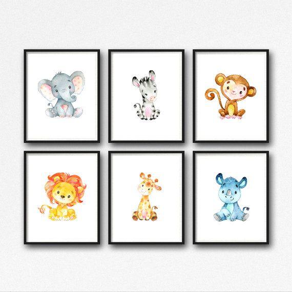 animals nursery art printable jungle animals nursery decor lion giraffe elephant monkey rhino. Black Bedroom Furniture Sets. Home Design Ideas