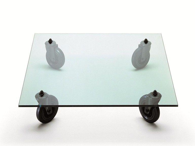 Tavolo Renzo ~ Mesita cuadrada de vidrio flotado con ruedas tavolo con ruote by