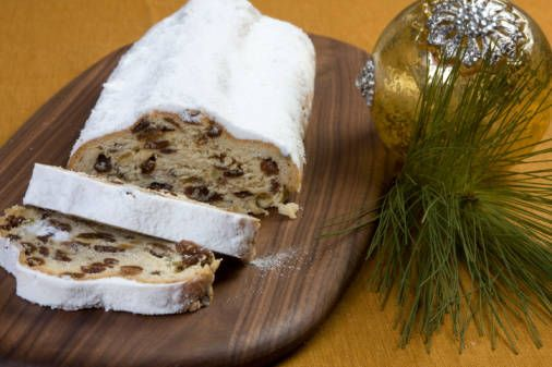 Stollen is a rich sweet German fruit bread made with yeast, nuts