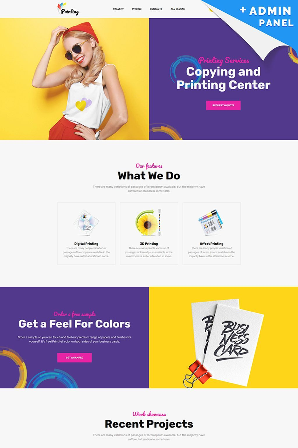 Printing Company Landingpage Template Landing Page Company Profile Template Web Design Company