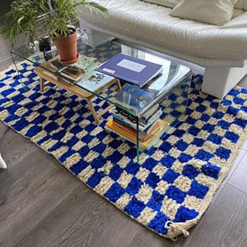 Blue Checkered rug, Moroccan Custom checker rug, M