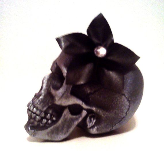 Black Faux Leather Flower Hair Clip by CrossbonesBoutique on Etsy, $5.00