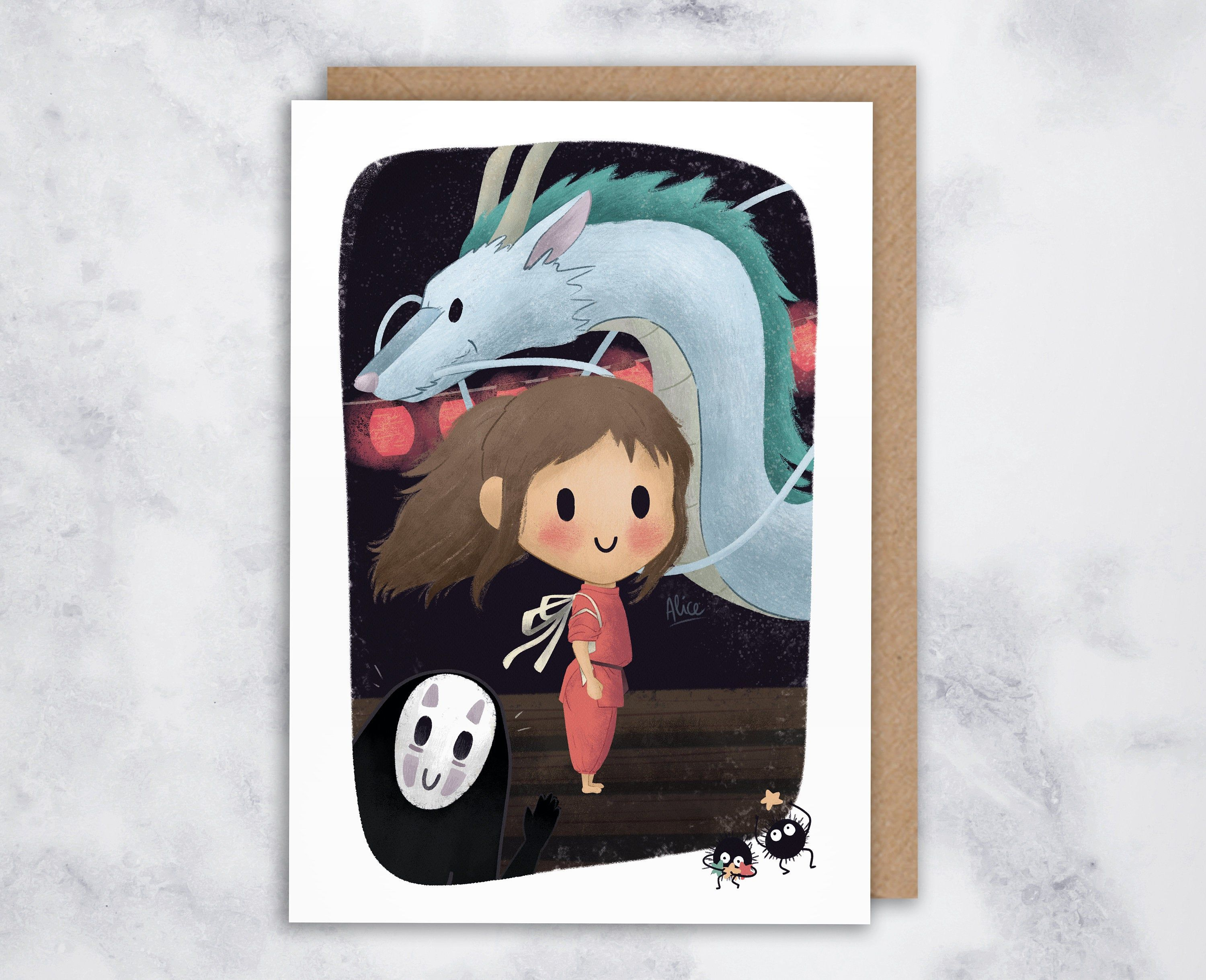 Spirited Away Card Studio Ghibli Print Chihiro Card Cute Greeting Card Card For Anime Fan In 2020 Studio Ghibli Ghibli Japanese Animation