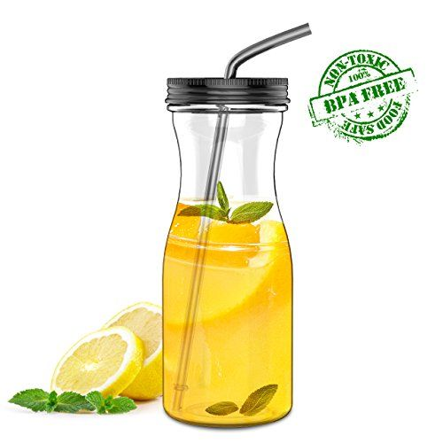 Extra Wide Mouth w//Easy Twist Lid 33oz Dishwasher-Safe Tumbler Simple HH Tritan Water Bottle with Straw BPA Free Cold Drink//Water Container