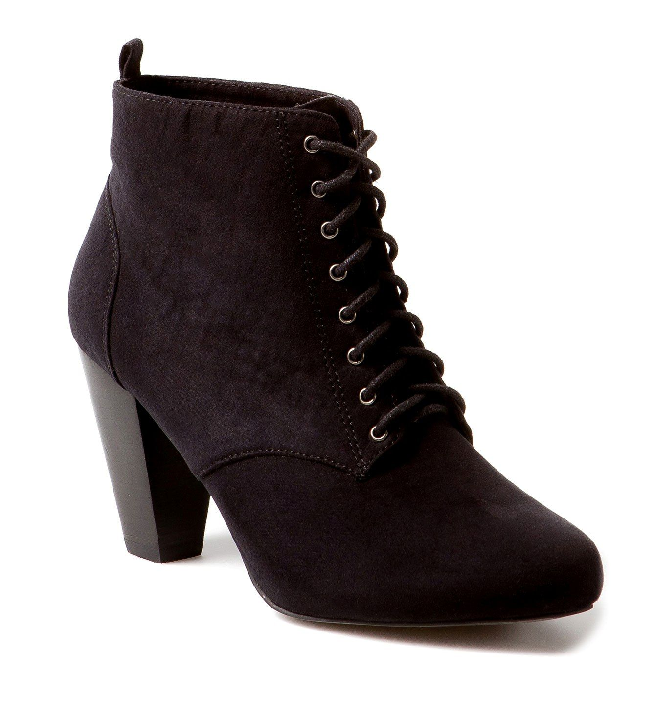 Lace Up Ankle Heel Boots