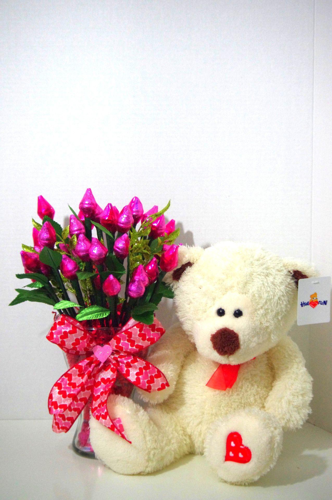 Anniversary - Pink Hershey Kiss Roses with Bear- Three Dozen ...