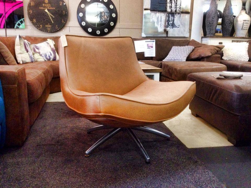 Design draaifauteuil Luxor van HE Design in dik leder met chrome ...