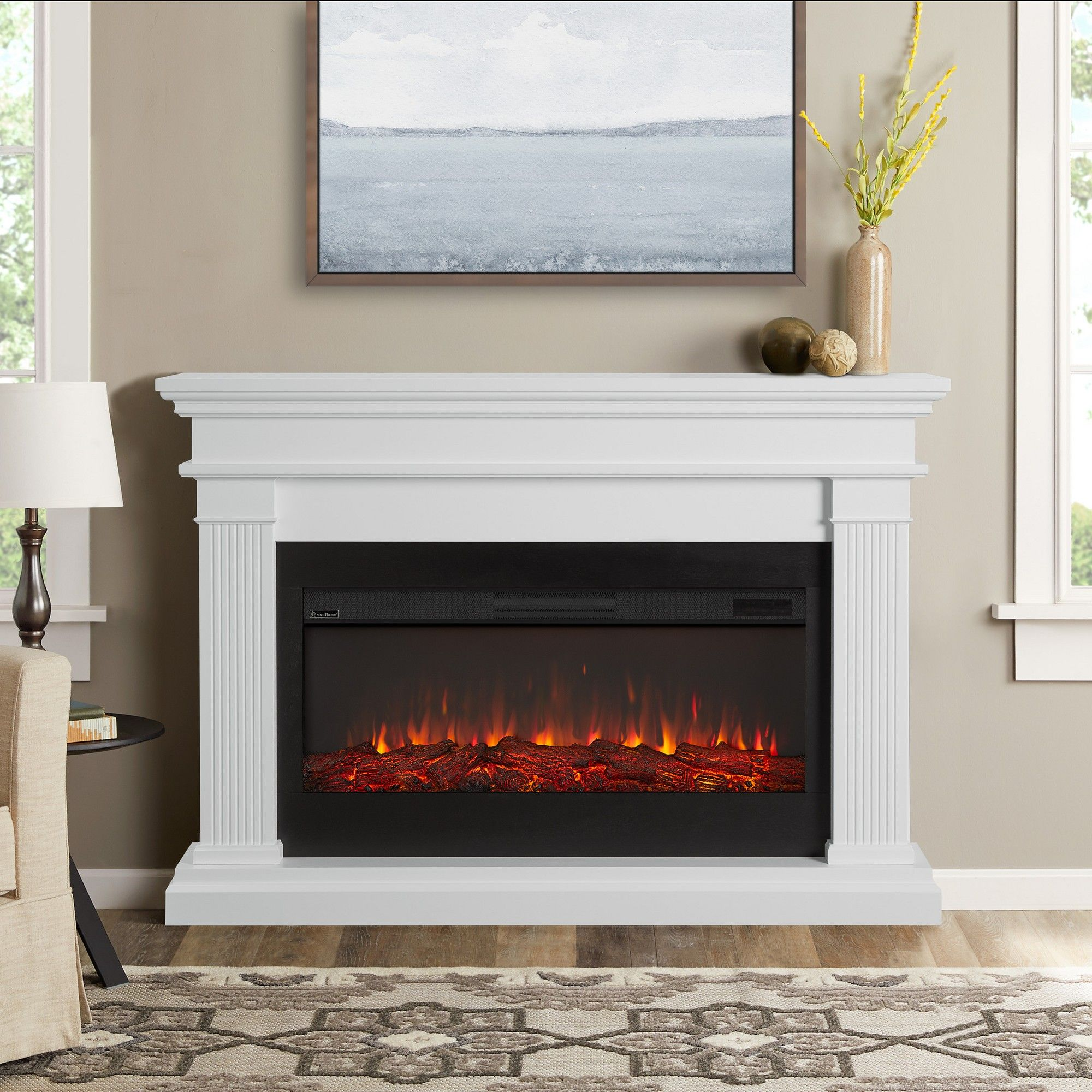 Real Flame Beau Electric Decorative Fireplace White White Electric Fireplace White Fireplace Electric Fireplace
