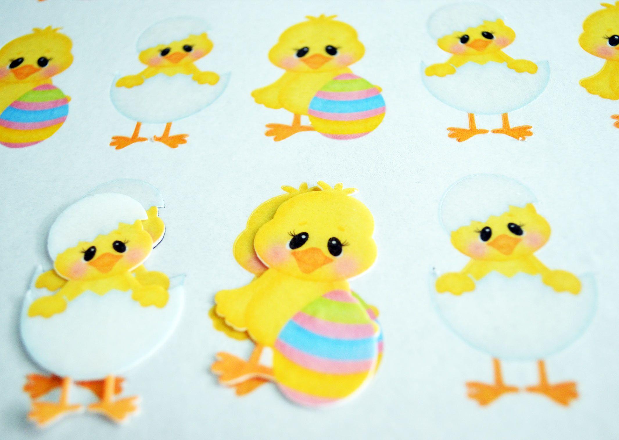 Pollitos de Pascua impresas color amarillo en papel de arroz y ...