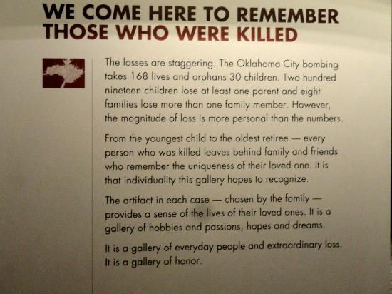 Plaque explaining the victims oklahoma city national memorial and museum