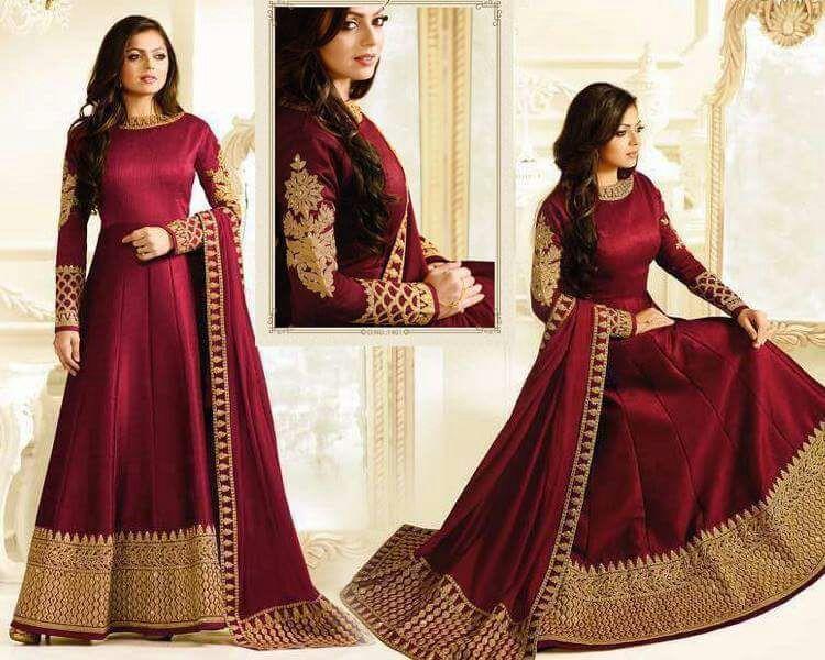 98acfd41bb long Anarkali party wear silk suit maroon stone embroidery Indian wedding  dress #Handmade #SalwarKameez