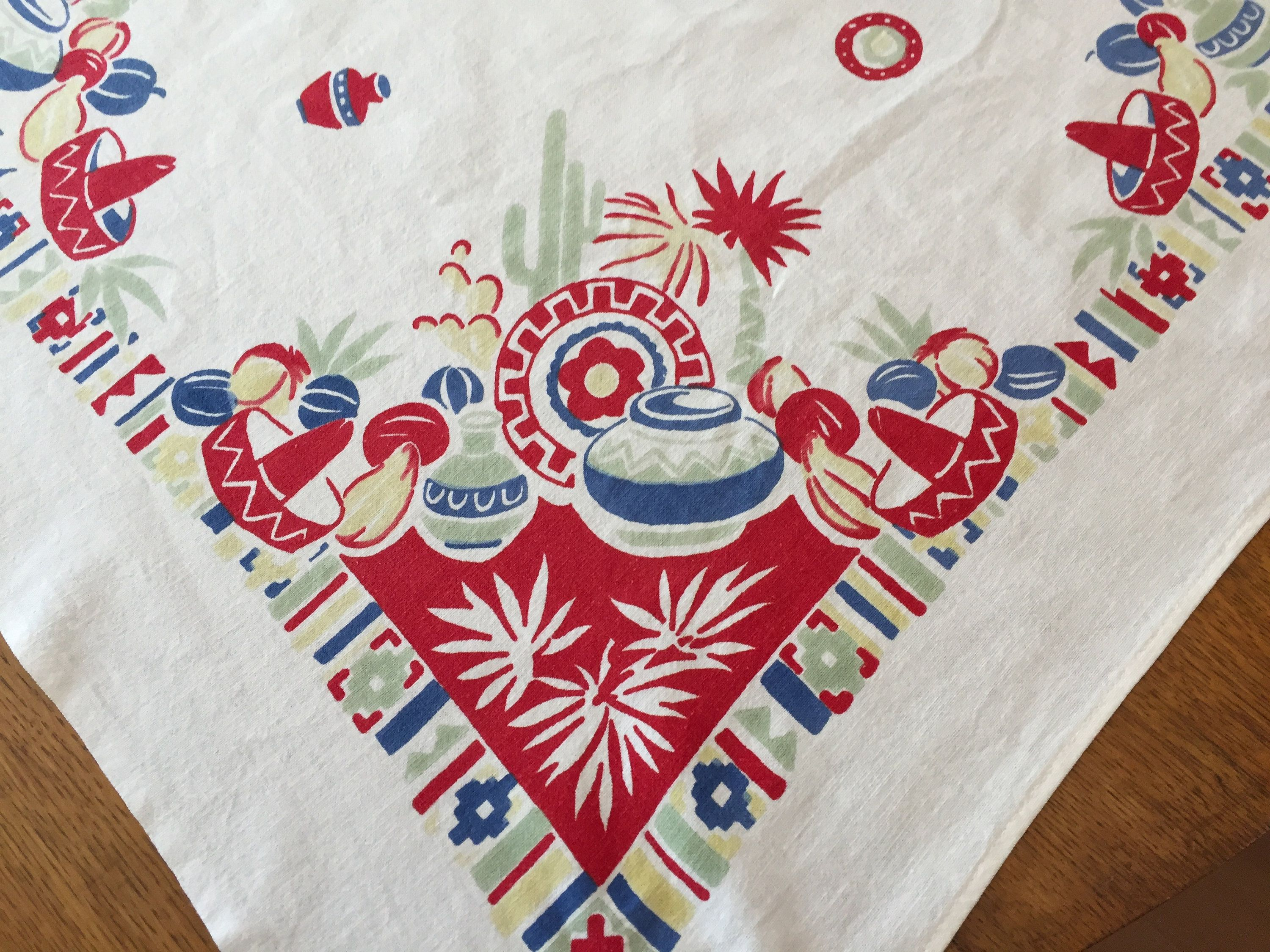 Vintage Sw Tablecloth 1950 S Mexican Mexico Cotton Print Red Blue