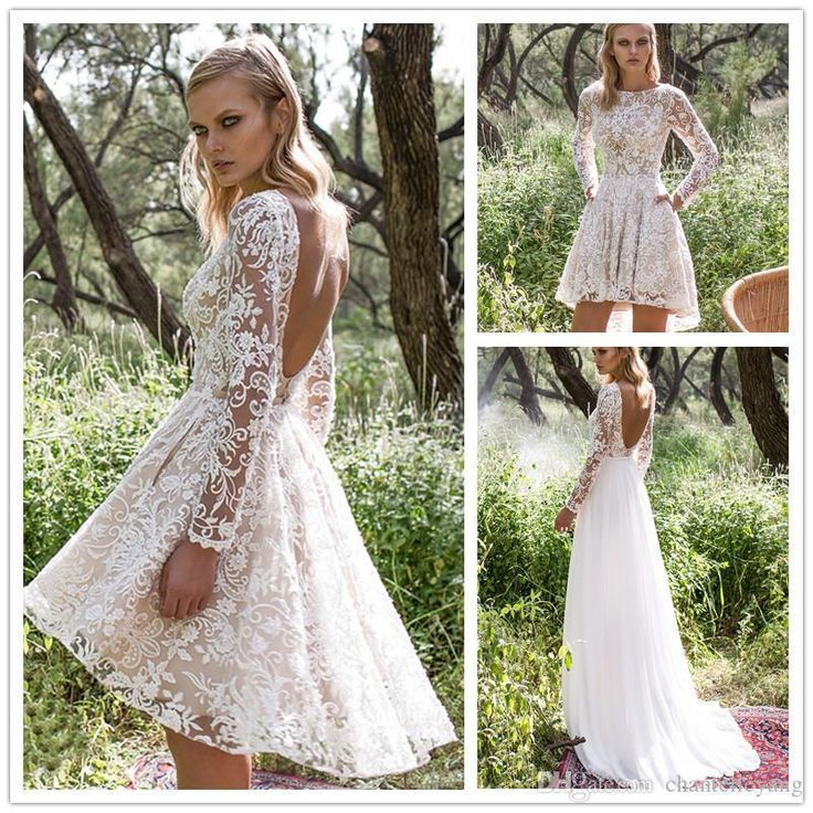 Short Wedding Dresses Vintage Lace Wedding Dress With Detachable Skirt Cheap Modest Long Sleeve Beaded Youfashion Net Leading Fashion Lifestyle Magaz Short Wedding Dress Vintage Lace Wedding Dress