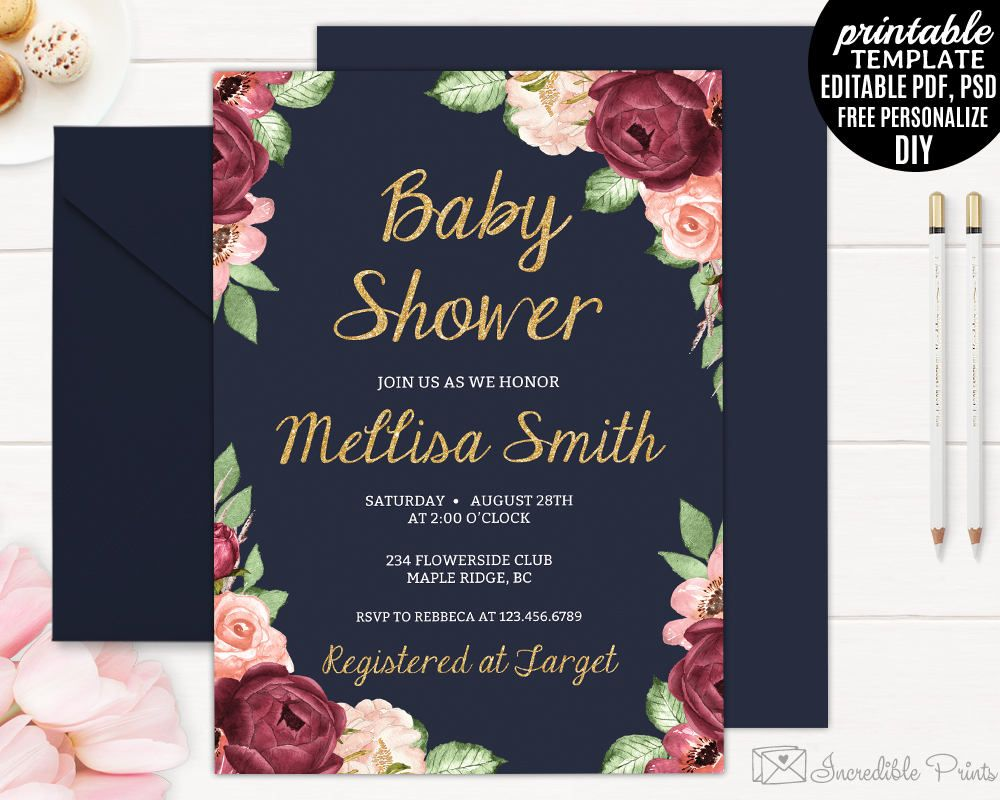Navy Gold and Marsala Watercolor Flowers Baby Shower Invitation – Garden Party Baby Shower Invitations