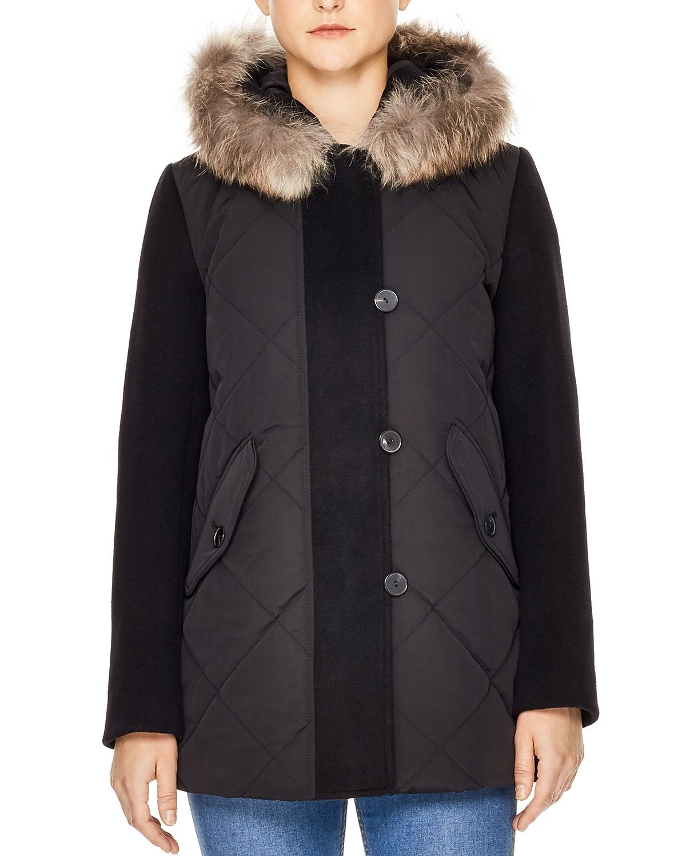 b64044731 Sandro Janis Fur-Trimmed Coat