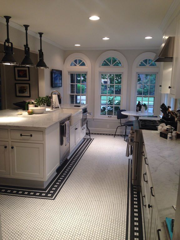 New Vintage Kitchen At Modvintagelife Com I M So Very In Love With This Kitchen Those Lights The Kitchen Flooring Kitchen Floor Tile Kitchen Decor Themes