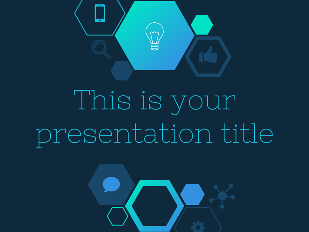 with an hexagons and icons pattern this free presentation template, Presentation templates