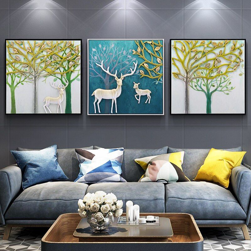 Living Room Decoration Painting Modern Painting 3d Three Dimensional Restaurant Relief Oil Painting Decor Wall Decor Bedroom Diy Living Room Decor