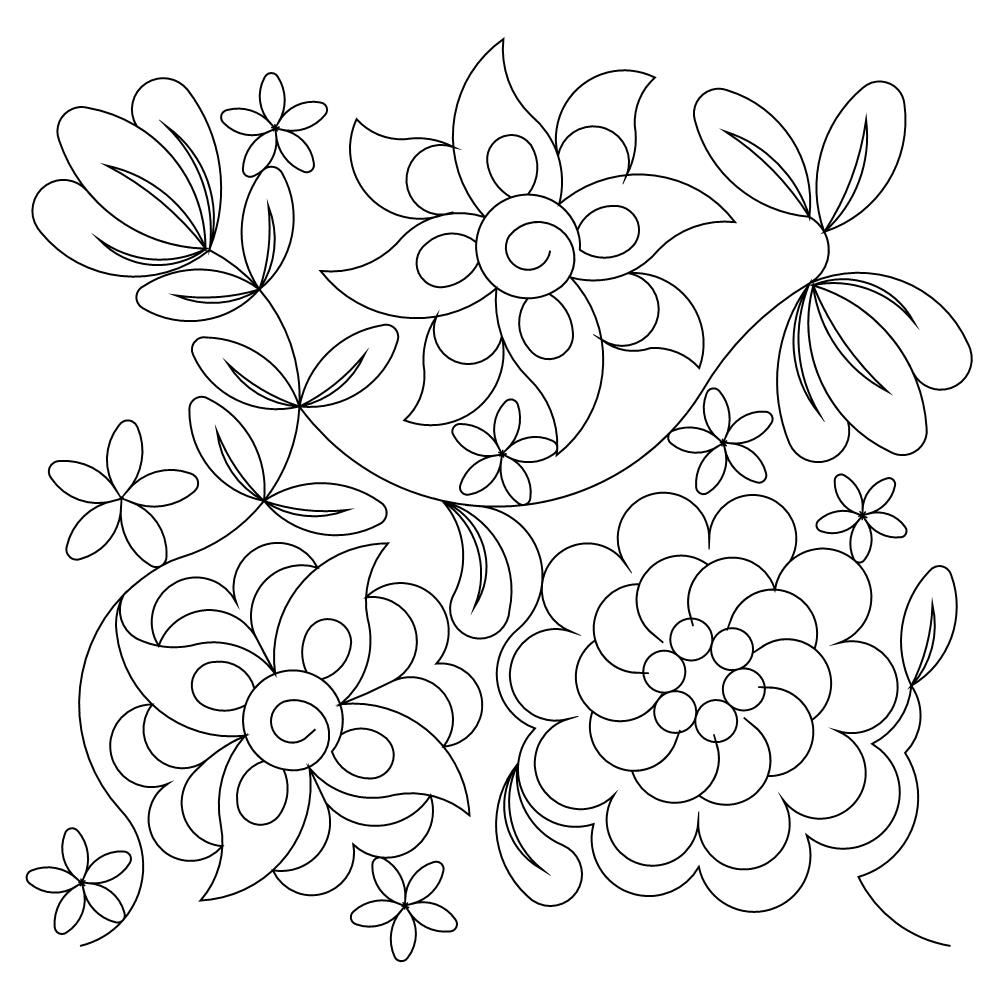 Digitized Quilting Pattern Winter Flowers Embroidery