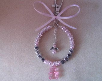 Personalised stunning pram charm in baby pink for baby ideal gift