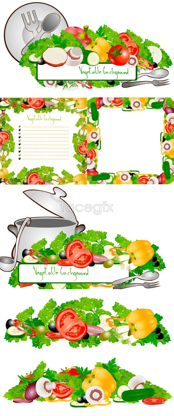 Fruit and vegetable borders vector