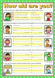 English worksheet: How old are you? - Short Dialogues to act out