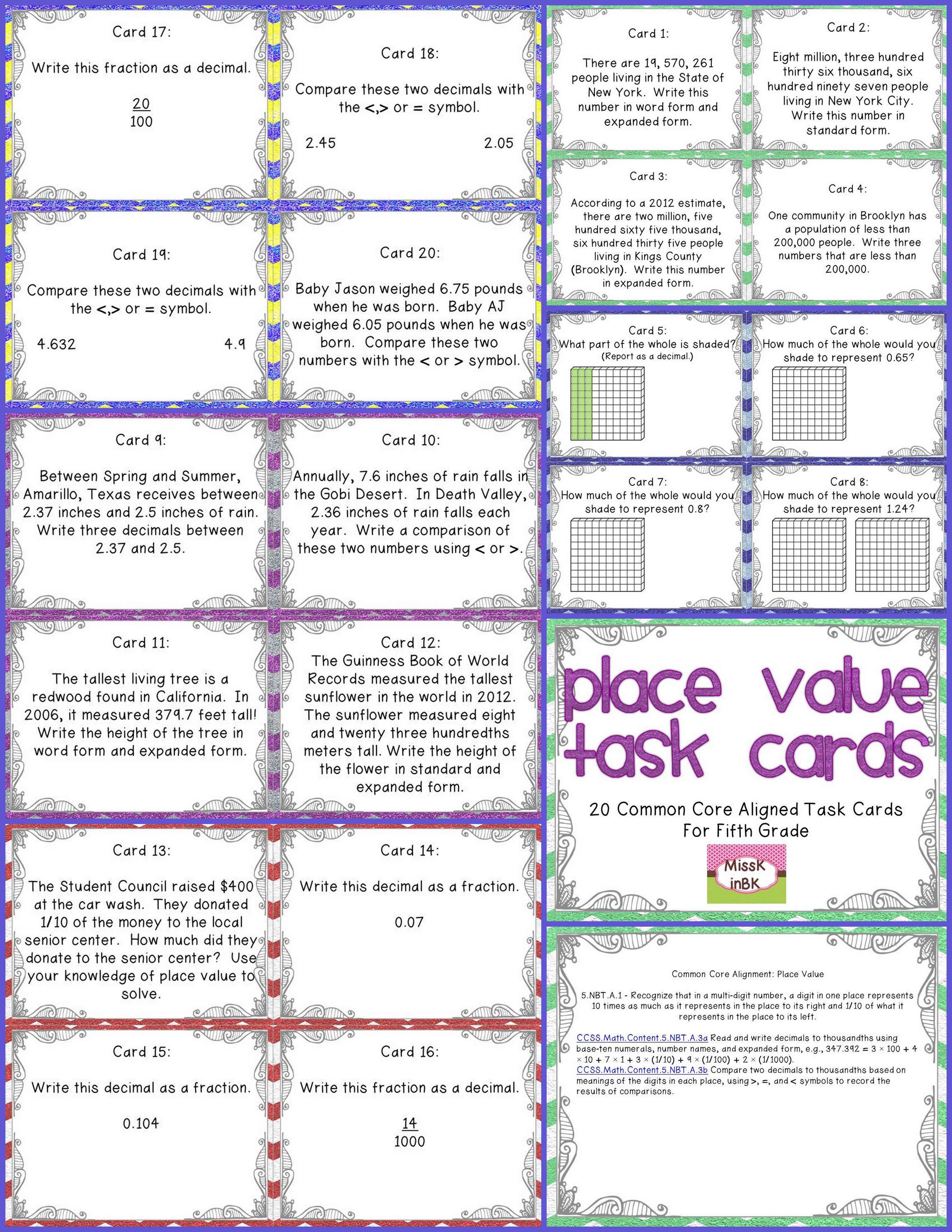 Place value task cards for fifth grade writing numbers 20 task cards provide students the opportunity to practice reading and writing numbers greater than one falaconquin