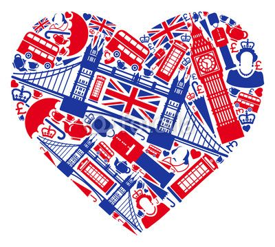 Traditional Symbols Of London And England In The Form Of Heart Wall