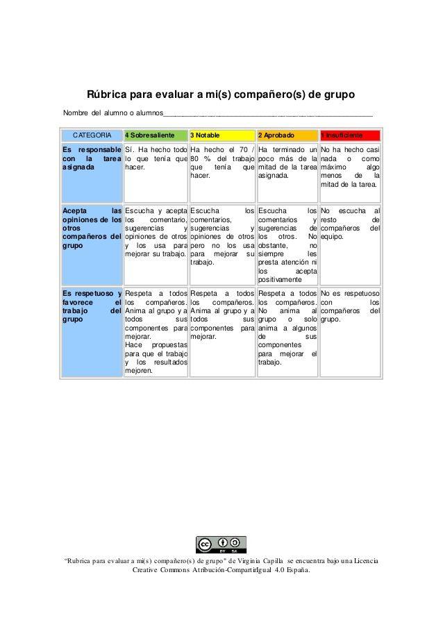 Rúbrica Del Trabajo De Mis Compañeros De Grupo Rúbricas Rubrica De Evaluacion Autoevaluacion