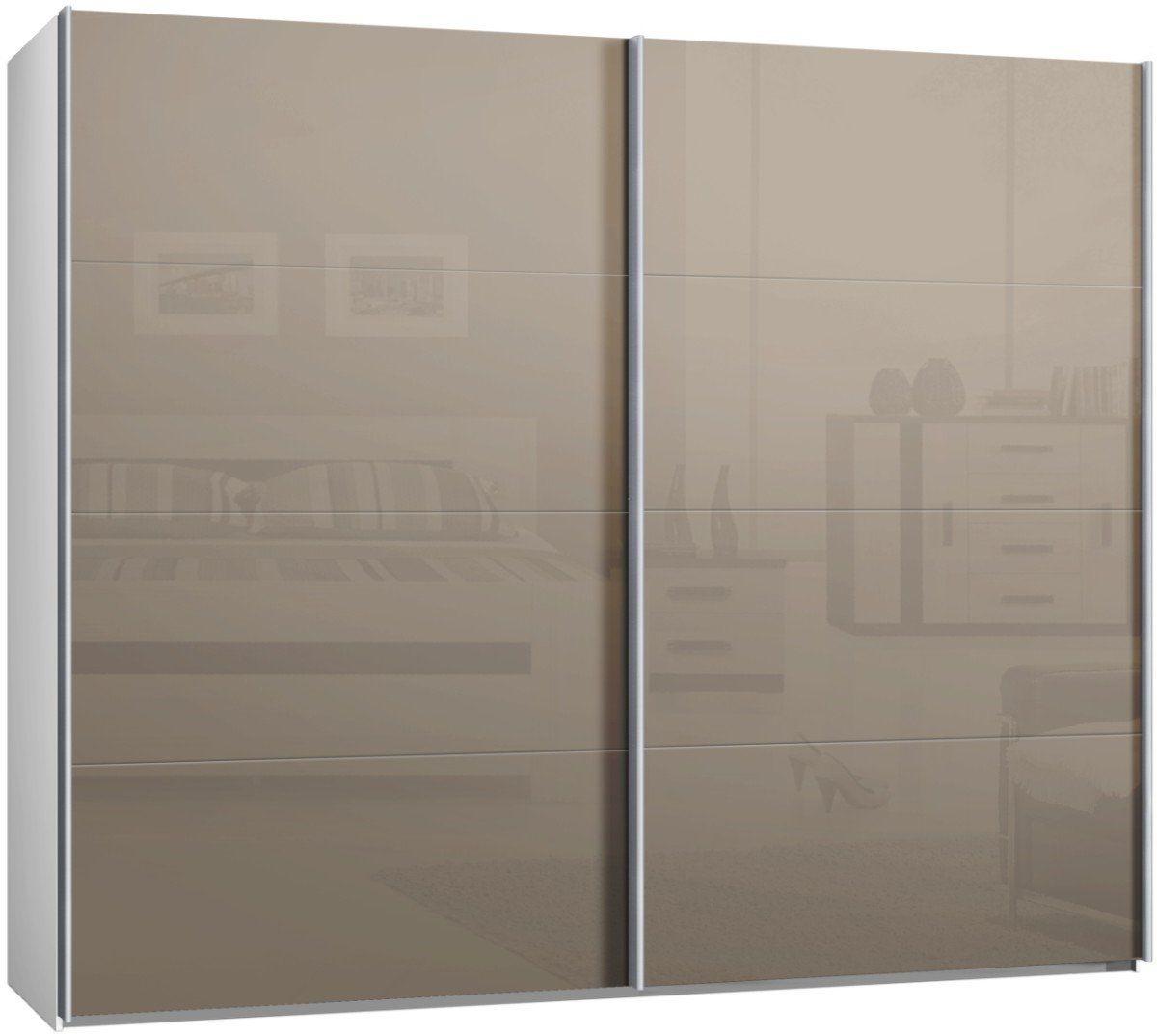 Switch Schwebet renschrank, Kleiderschrank, ca. 270 cm, mit Glast ren in Cappuccino, Schiebet ...