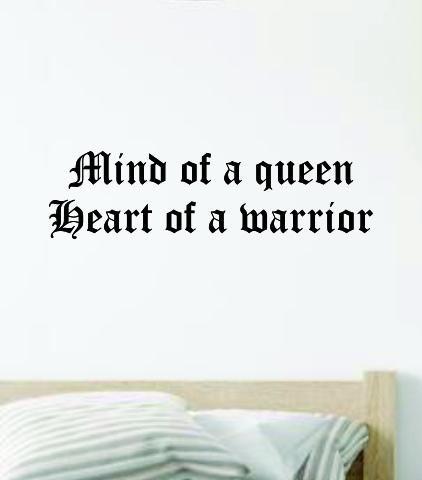 Mind of a Queen Heart of a Warrior Wall Decal Home Decor Vinyl Art Sticker Bedroom Quote Nursery Baby Teen Boy Girl Inspirational Strong Motivational Women - saphire blue