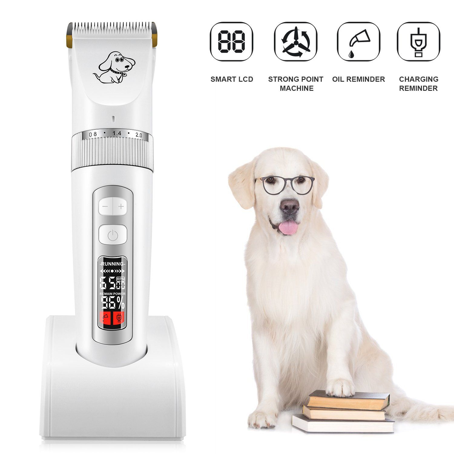 Afbest Dog Grooming Clippers Low Noise Rechargeable Cordless Dog