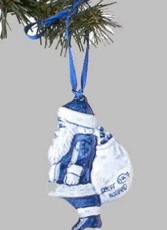 Christmas Ornament Delft Santa With Sack Blue Blue Christmas Ornaments White Christmas Ornaments Blue Christmas Tree