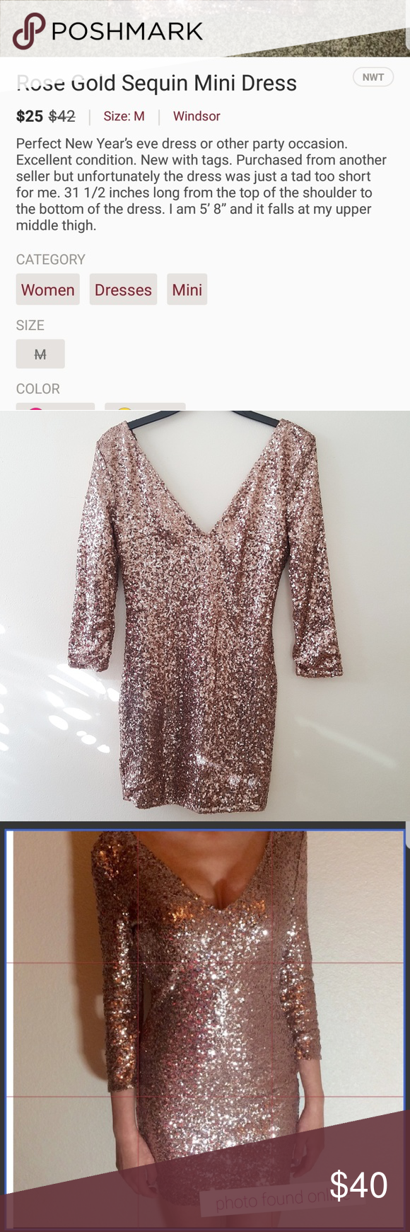 Nwt windsor rose gold sequins dress