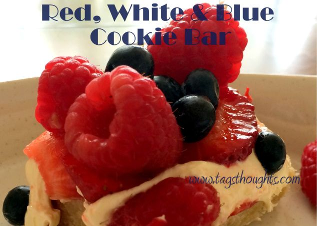 Red, White & Blue Fresh Fruit Cookie Bar by tagsthoughts.com