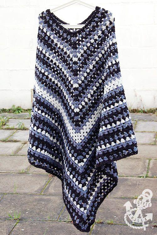 Men\'s Classic Poncho - Free Crochet Pattern   Ponchos, Chal y Tejido