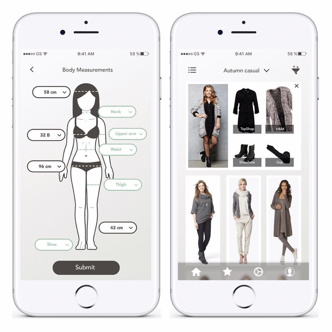 Shop This Look Concept App Add Your Body Measurements
